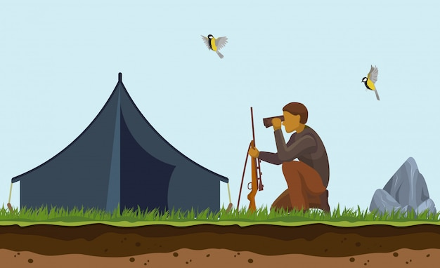 Duck hunting . cartoon illustration of hunter with  gun, binoculars and tent on hunt. looking birds to shoot and target outdoor. Premium Vector