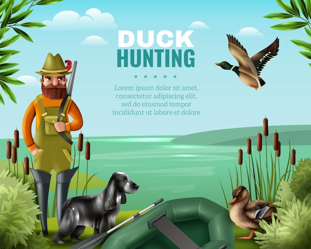 Duck hunting illustration Free Vector