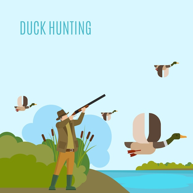 Duck hunting illustration Premium Vector