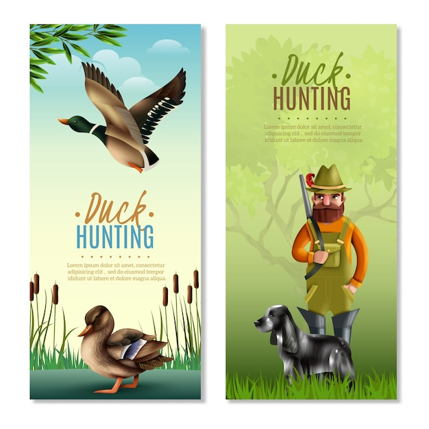Duck hunting vertical banners Free Vector