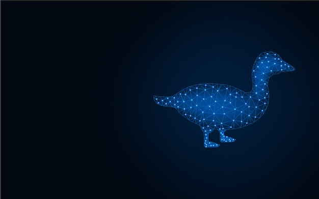 Duck low poly blue background Premium Vector