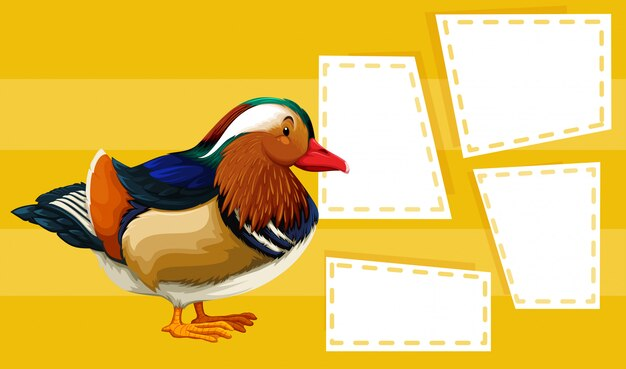 Duck on note background Free Vector