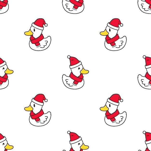 Утка бесшовные модели рождество шляпа санта клауса мультфильм Premium векторы