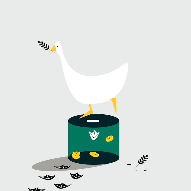 Duck standing on the donation box Free Vector