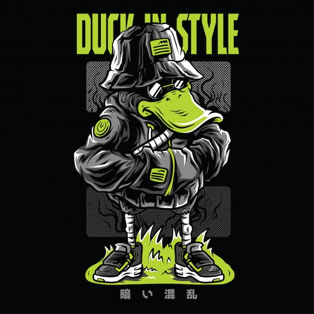 Duck in style neon  illustration Premium Vector