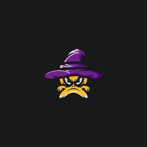 Duck witch hat design ilustration Premium Vector