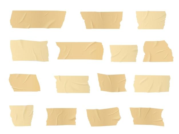 덕트 테이프 조각, 접착 줄무늬 프리미엄 벡터