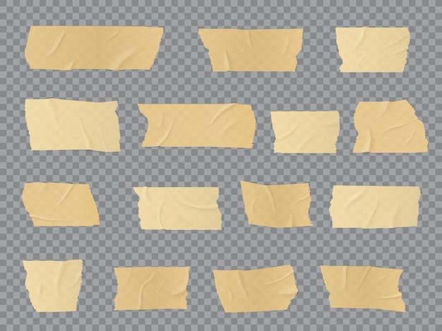 덕트 테이프 조각, 접착 성 주름진 줄무늬, 고정, 수리 또는 포장 목적으로 접착 된 접착 스카치 테이프. 현실적인 3d 베이지 절연 석고 또는 종이 패치, 고립 된 붕대 개체 세트 프리미엄 벡터