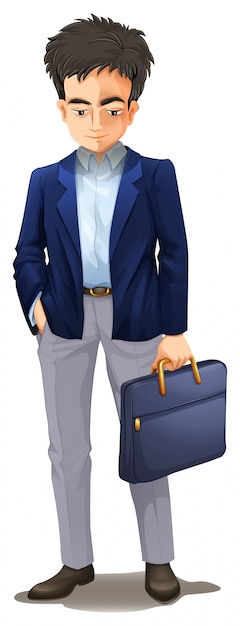 A dull businessman on white background Premium Vector