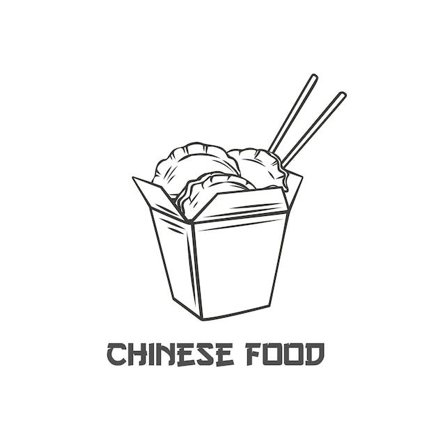 箸の輪郭が描かれた中国のカートンボックスの餃子 Premiumベクター