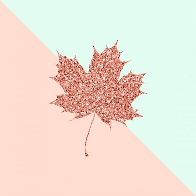 Кленовый лист из розового золота на duo color pastel Premium векторы