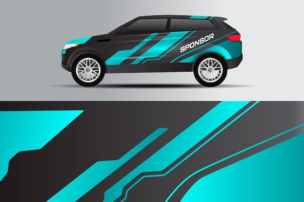 Duo tone car warp design Premium Vector