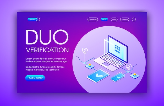 Duo verification illustration of computer and\ smartphone with dual authentication
