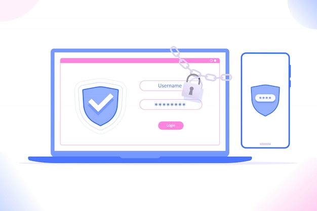 Duo verification on mobile phone and laptop Premium Vector