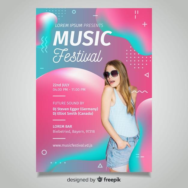 Duotone fluid music festival poster Free Vector