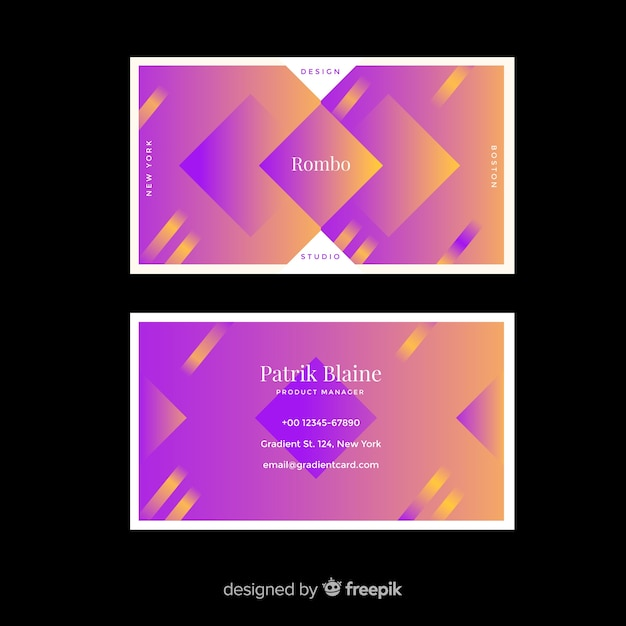 Duotone gradient models business card Free Vector