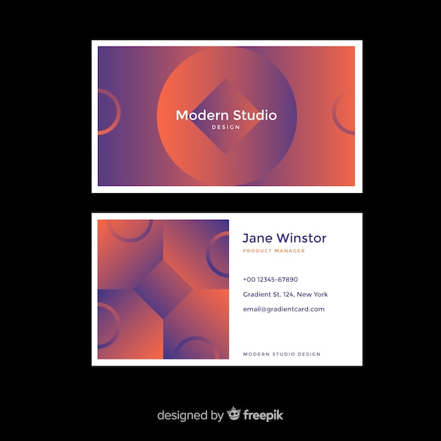 Duotone gradient shapes business card Free Vector