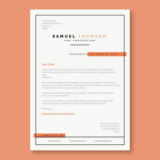 Free Vector Duotone Simple Orange Cover Letter Template