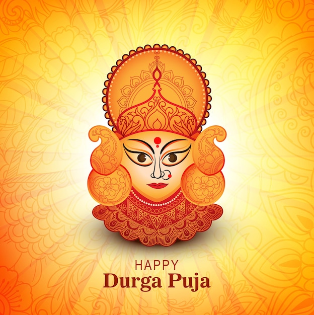 Durga puja festival greeting card background Free Vector