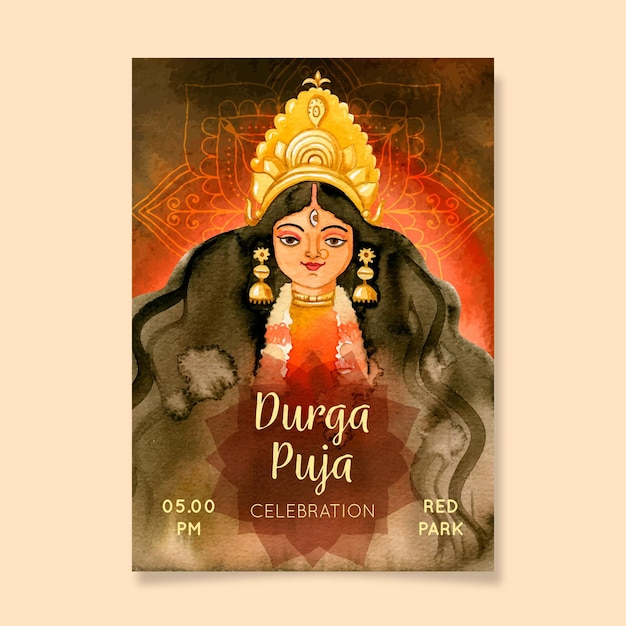 Durga-puja ready to print poster Free Vector