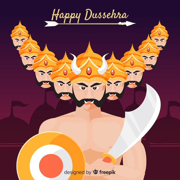Dussehra background hand drawn style Free Vector