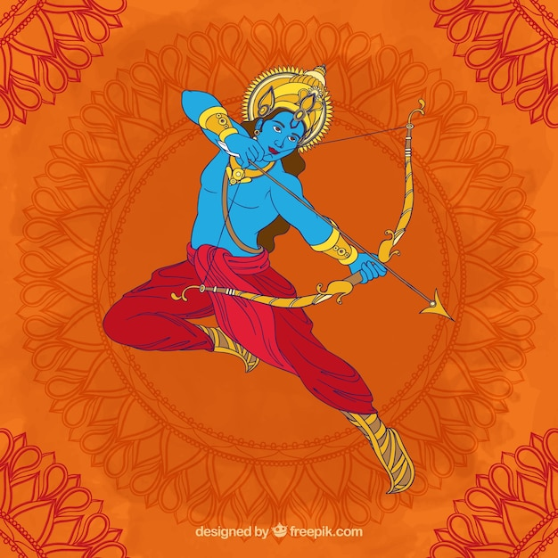 Dussehra background with archer Free Vector