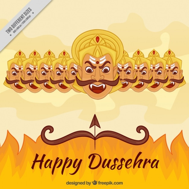 Dussehra background with fire and the ten heads of ravana Premium Vector