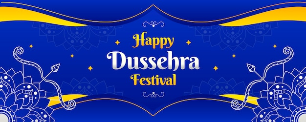Dussehra banner template design Free Vector