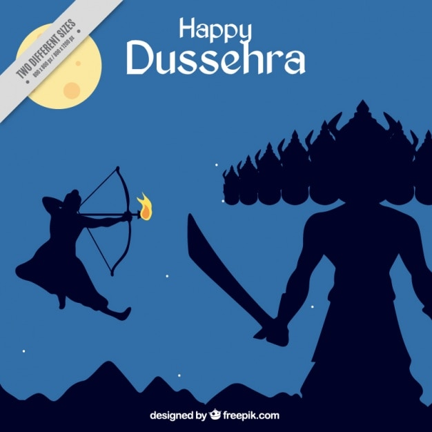 Dussehra celebration background with struggle represented Premium Vector