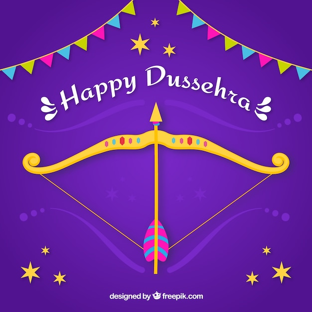 Dussehra celebration composition with flat design Free Vector