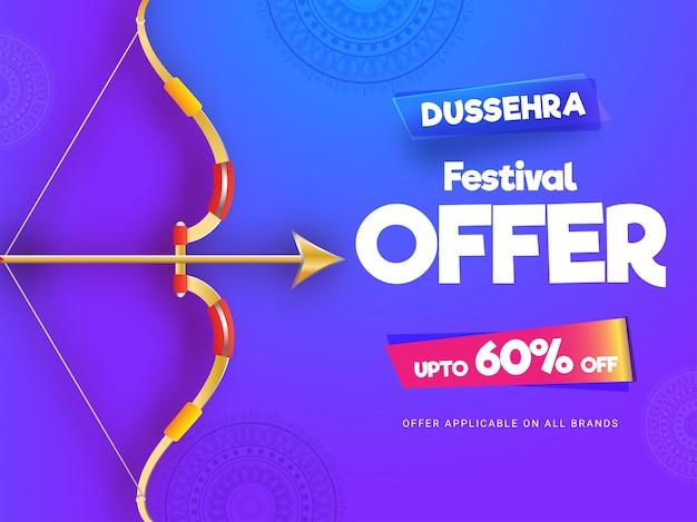 Dussehra festival sale banner or poster design. Premium Vector