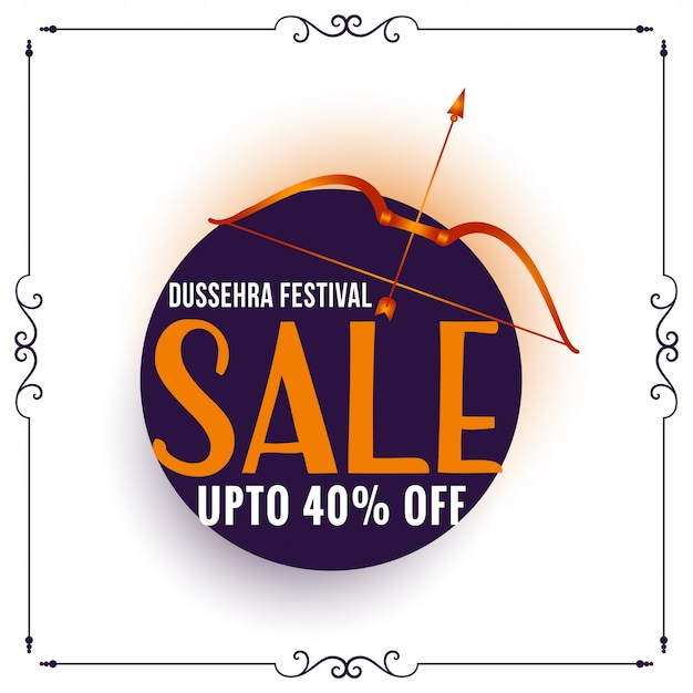 Dussehra festival sale banner with bow and arrow Free Vector
