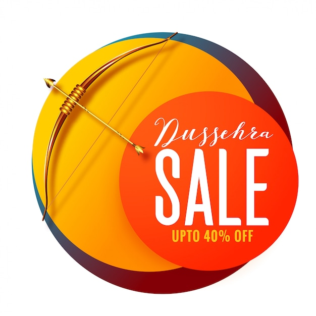 Dussehra festival sale banner with golden bow and arrow Free Vector