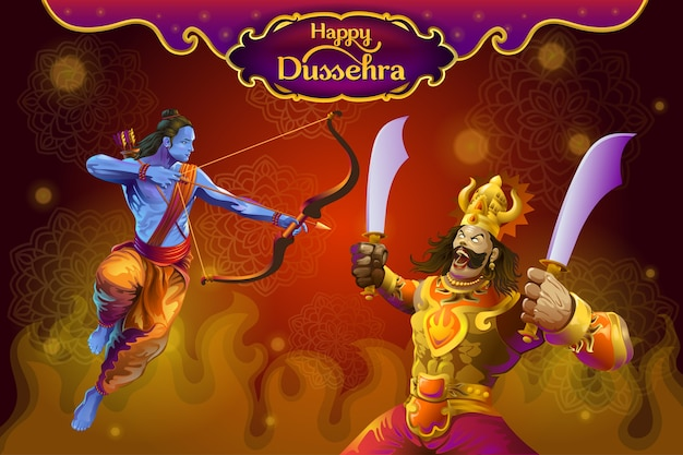 Dussehra greetings with rama and ravana Premium Vector