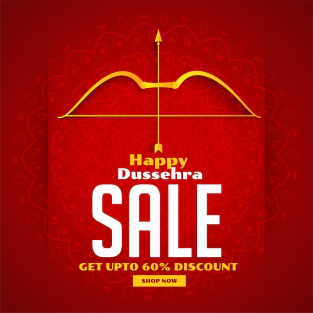 Dussehra sale banner with bow and arrow Free Vector