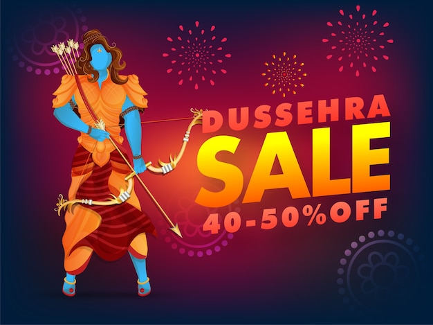 Dussehra 판매 포스터 할인 제공 및 불꽃 놀이 배경에 Lord Rama 캐릭터. 프리미엄 벡터