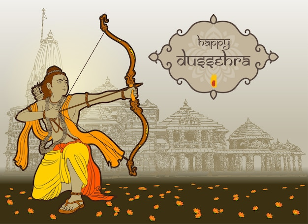 Dussehra wishes with rama and temple background Premium Vector