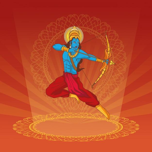 インドの幸せなdussehra祭 Premiumベクター