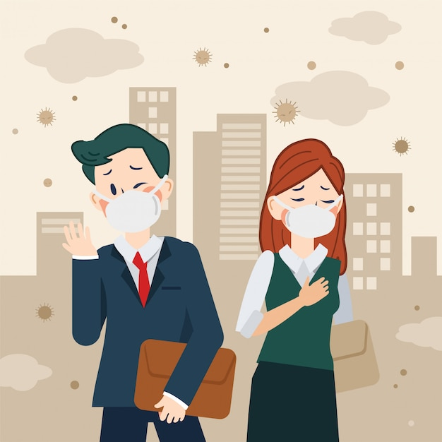 Dust in the city with people Premium Vector