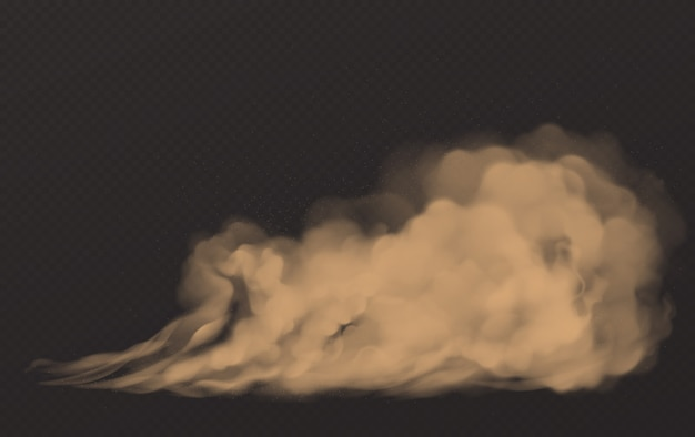 粉塵雲、汚れた茶色の煙、濃厚なスモッグ 無料ベクター