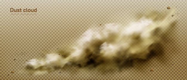 Пылевое облако, грязный коричневый дым, тяжелый густой смог Бесплатные векторы