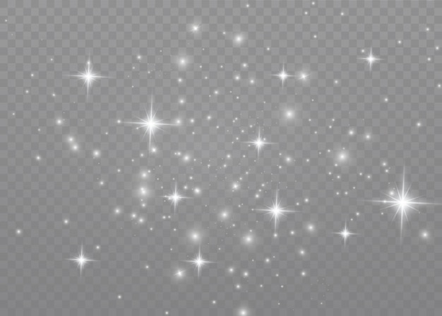 The dust sparks and golden stars shine with special light. sparkling magical dust particles. Premium Vector