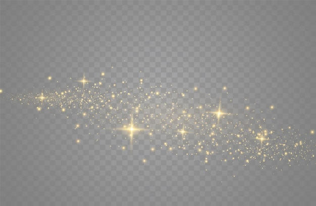 The dust sparks and golden stars shine with special light. vector sparkles on a transparent background. christmas light effect. sparkling magical dust particles. Premium Vector