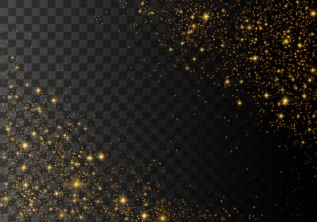 Dust sparks and golden stars shining Premium Vector