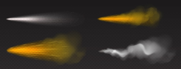 Dust spray, gold and white smoke, powder or water drops trail with particles Free Vector
