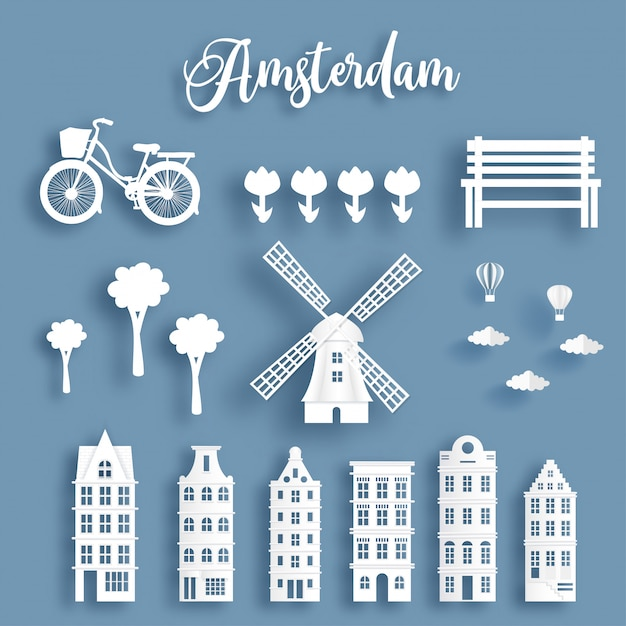 Dutch symbol with famous landmark in pack. paper cut style Premium Vector