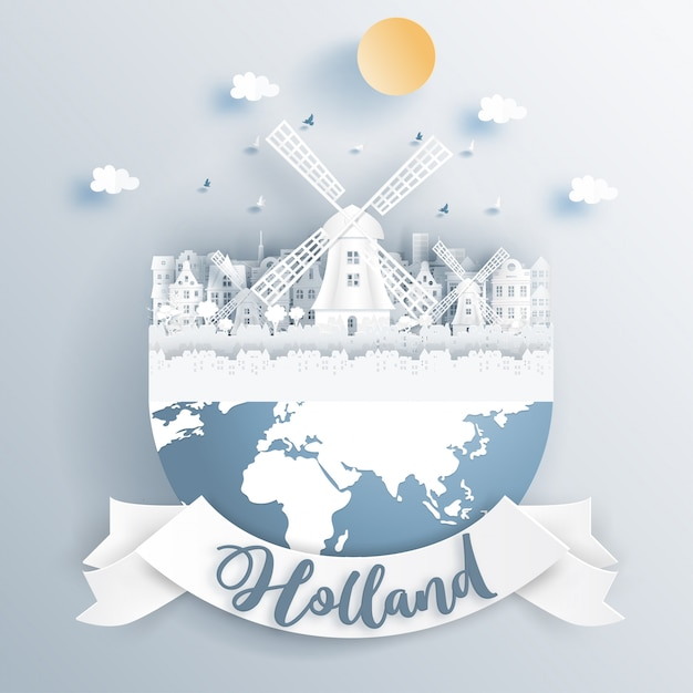 Dutch windmill of holland with famous landmarks on earth. Premium Vector