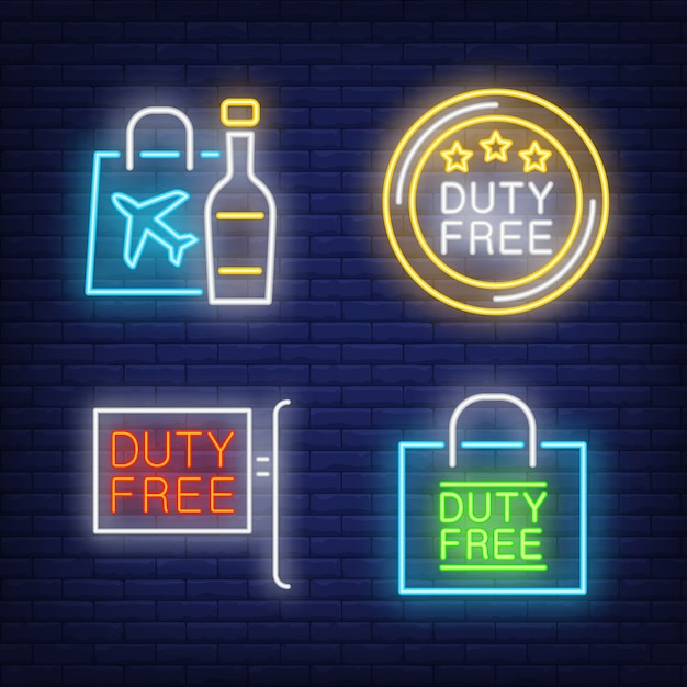 Duty free neon sign set. bottle of alcohol Free Vector
