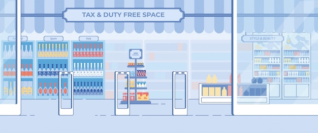 Duty-free shop showcase in airport in flat style Premium Vector