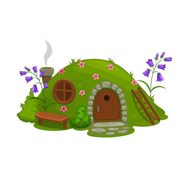 Дом гнома или гнома, мультяшная сказочная землянка. Premium векторы